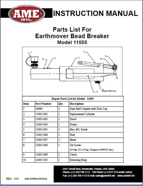 11005 PARTS BREAKDOWN PDF