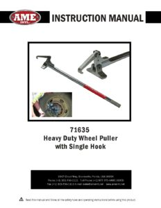 ame intl 71635 single hook heavy duty wheel puller instruction rh ameintl net User Manual PDF Operators Manual